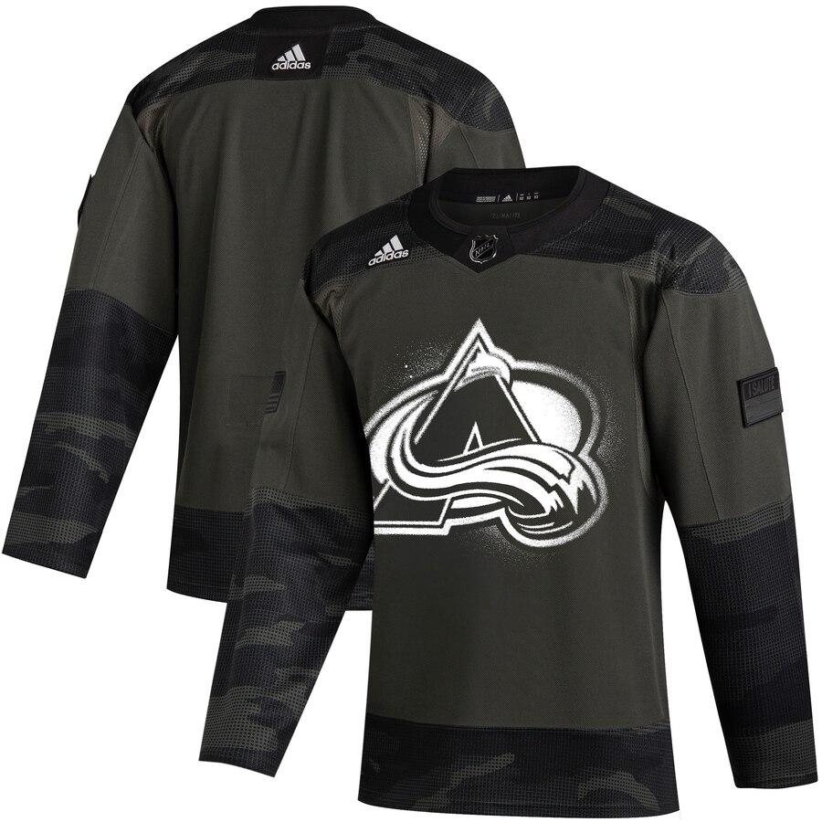 Colorado Avalanche Adidas 2019 Veterans Day Authentic Practice NHL Jersey Camo