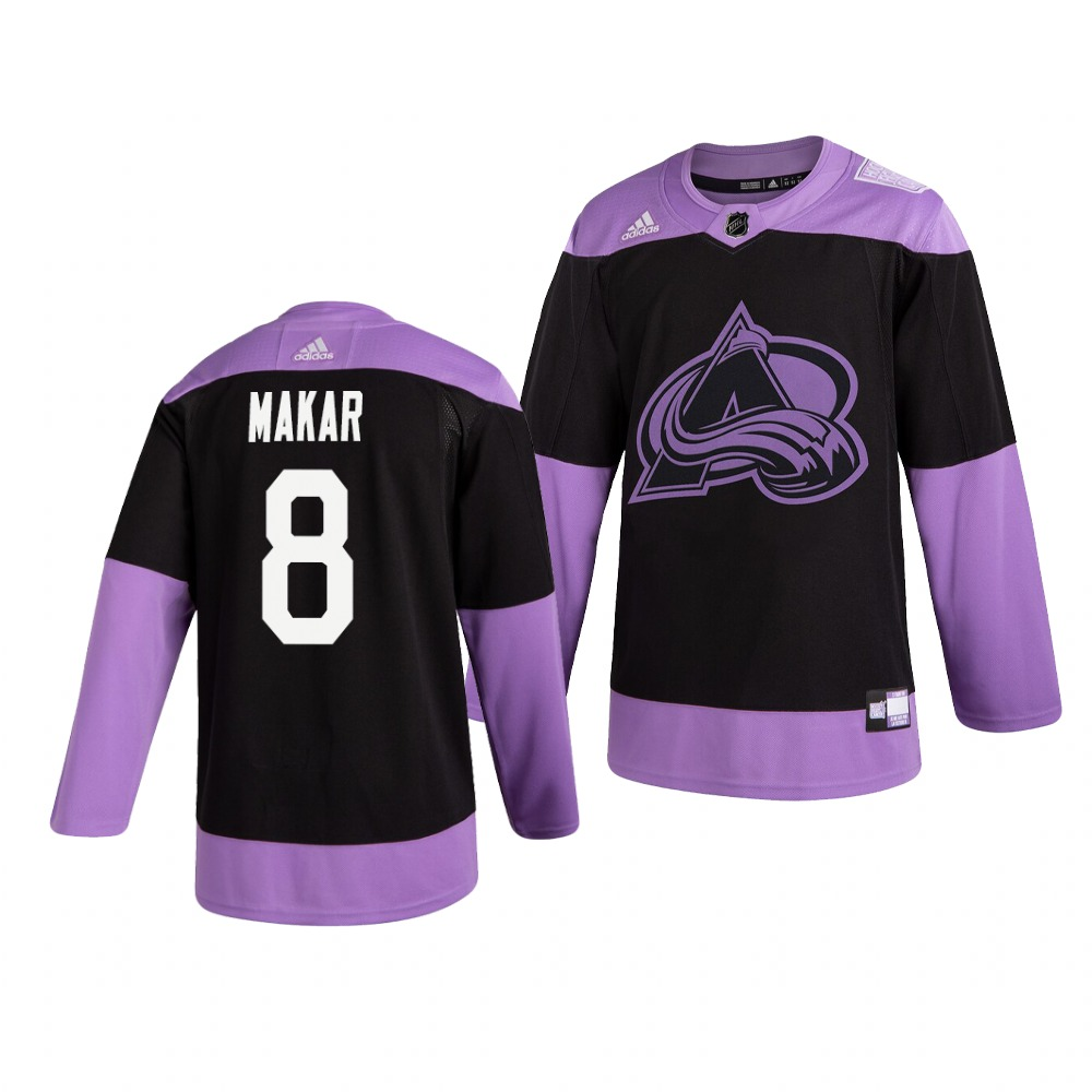 Colorado Avalanche #8 Cale Makar Adidas Men's Hockey Fights Cancer Practice NHL Jersey Black