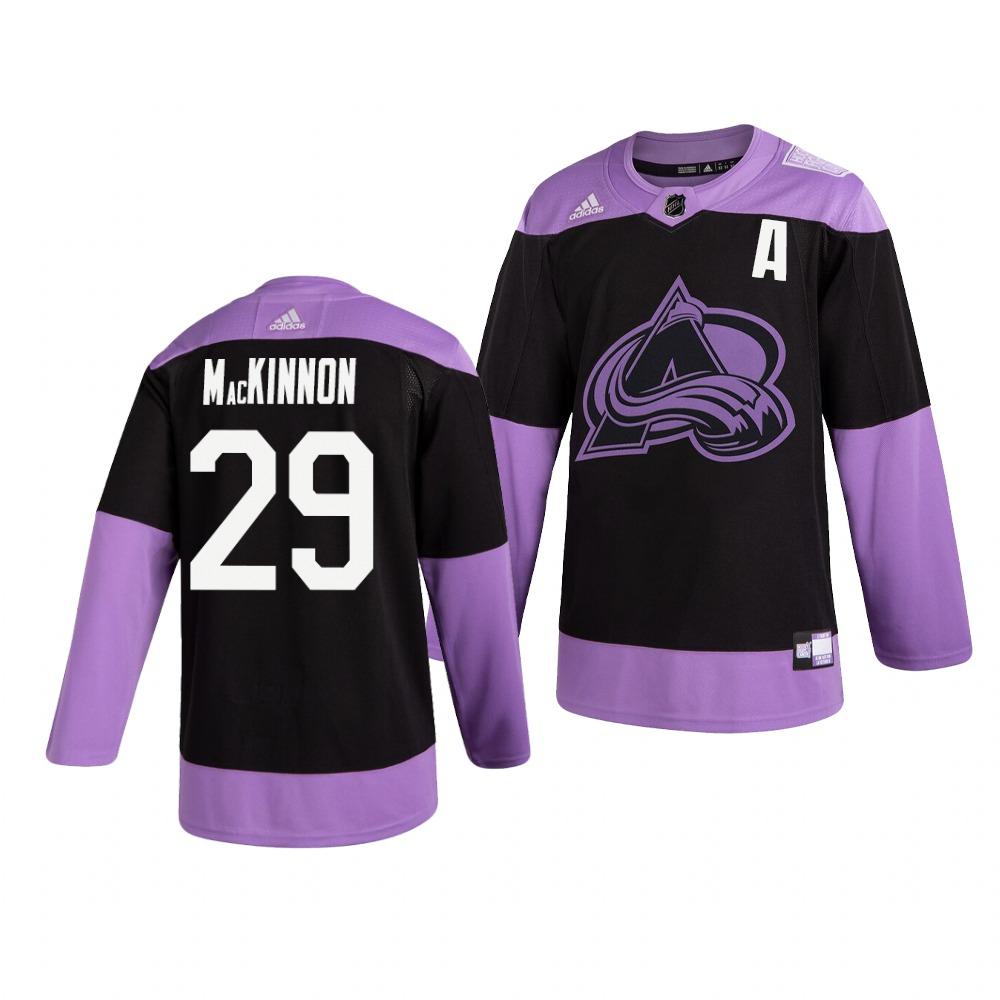 Colorado Avalanche #29 Nathan Mackinnon Adidas Men's Hockey Fights Cancer Practice NHL Jersey Black