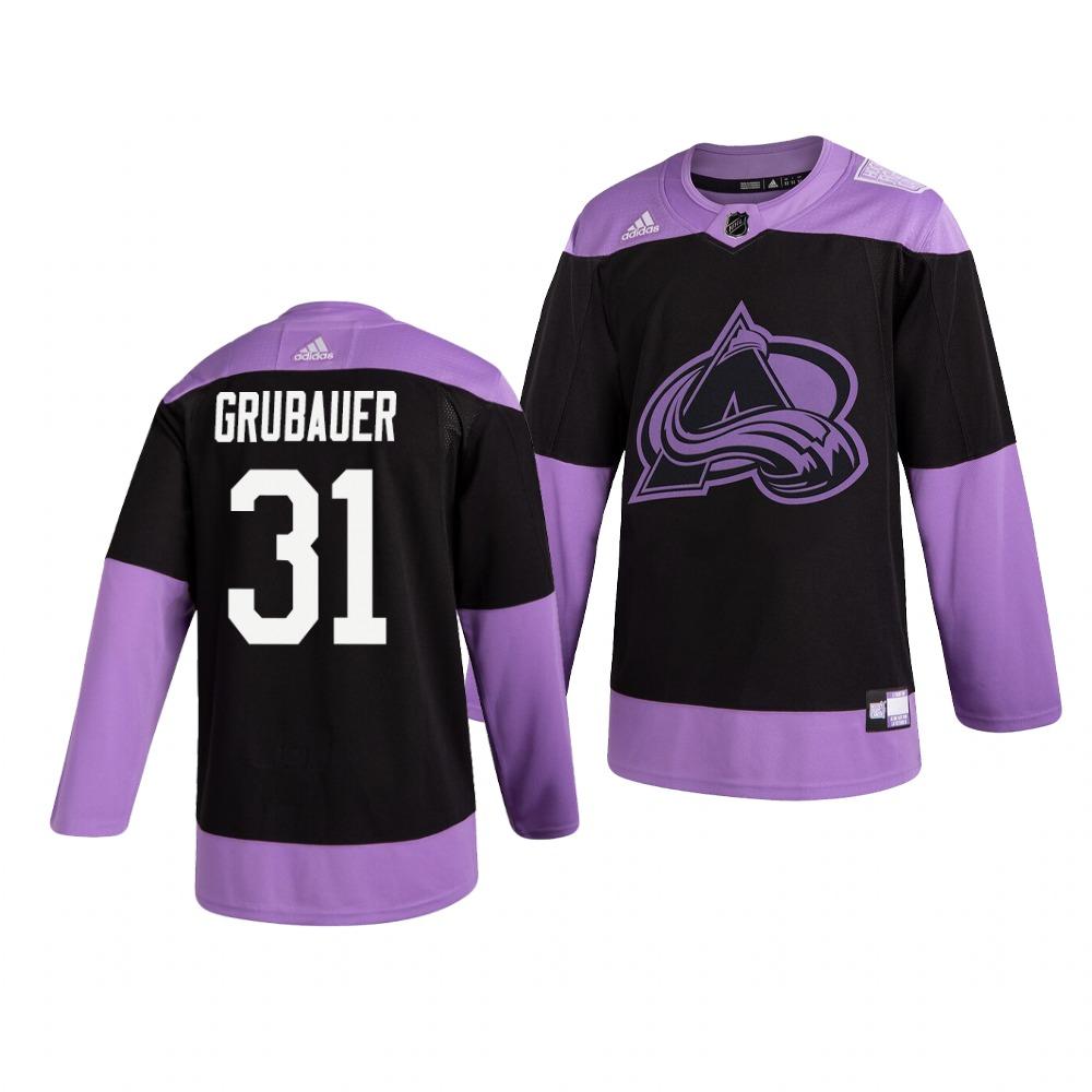 Colorado Avalanche #31 Philipp Grubauer Adidas Men's Hockey Fights Cancer Practice NHL Jersey Black