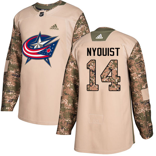 Adidas Blue Jackets #14 Gustav Nyquist Camo Authentic 2017 Veterans Day Stitched NHL Jersey
