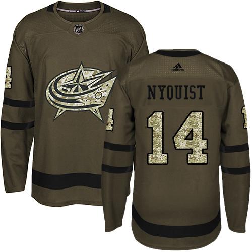 Adidas Blue Jackets #14 Gustav Nyquist Green Salute to Service Stitched NHL Jersey