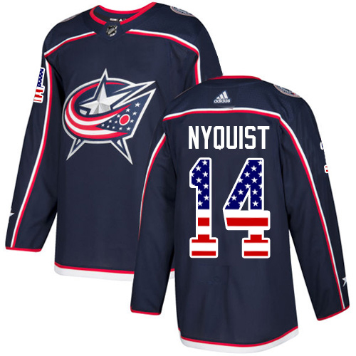 Adidas Blue Jackets #14 Gustav Nyquist Navy Blue Home Authentic USA Flag Stitched NHL Jersey
