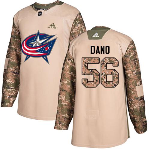 Adidas Blue Jackets #56 Marko Dano Camo Authentic 2017 Veterans Day Stitched NHL Jersey