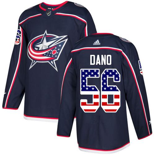 Adidas Blue Jackets #56 Marko Dano Navy Blue Home Authentic USA Flag Stitched NHL Jersey