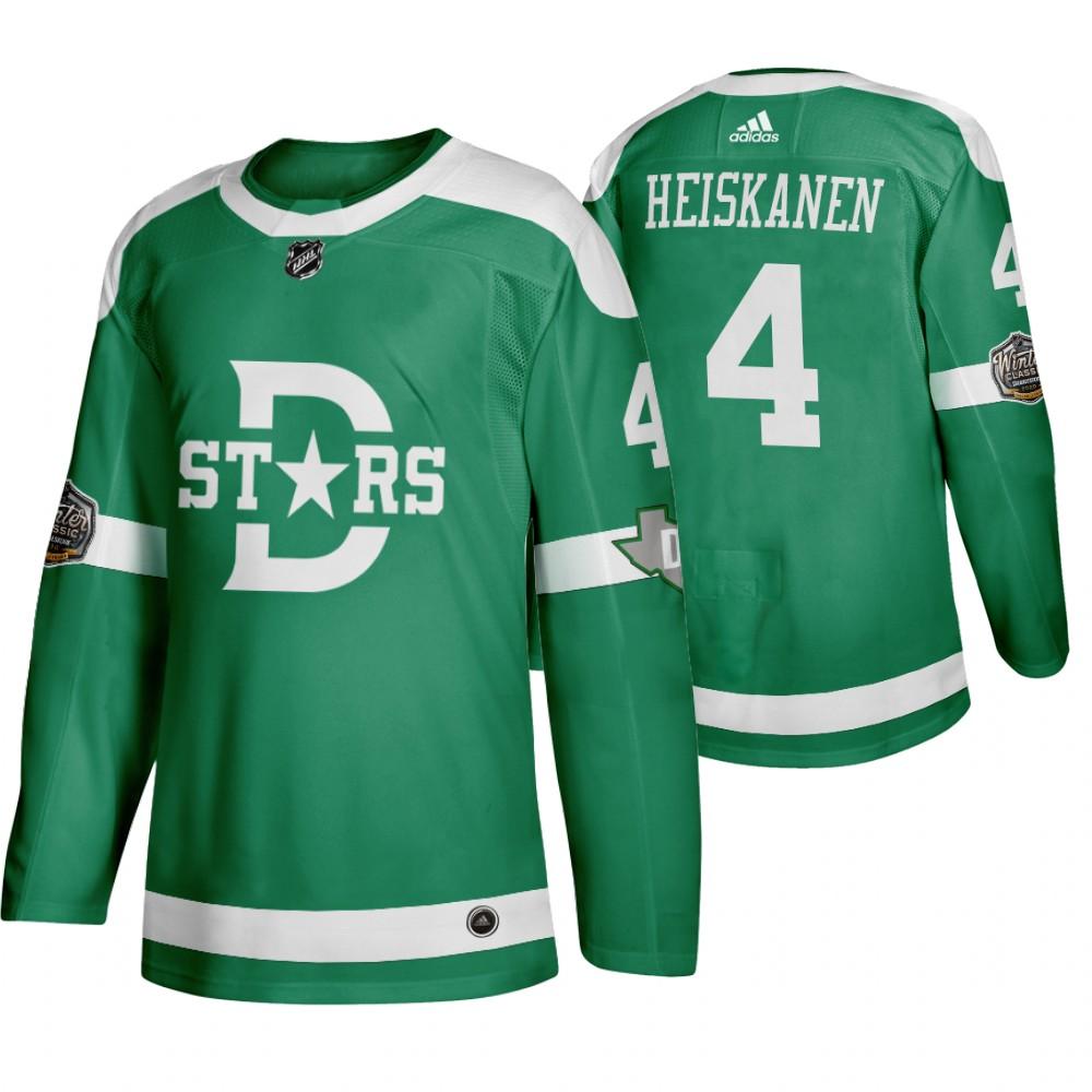 Adidas Dallas Stars #4 Miro Heiskanen Men's Green 2020 Winter Classic Retro NHL Jersey