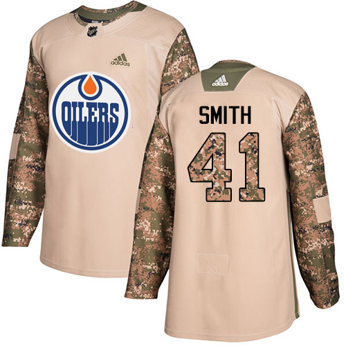Adidas Oilers #41 Mike Smith Camo Authentic 2017 Veterans Day Stitched NHL Jersey