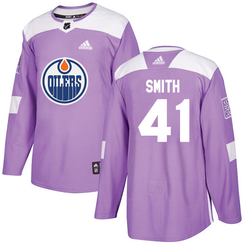 Adidas Oilers #41 Mike Smith Purple Authentic Fights Cancer Stitched NHL Jersey