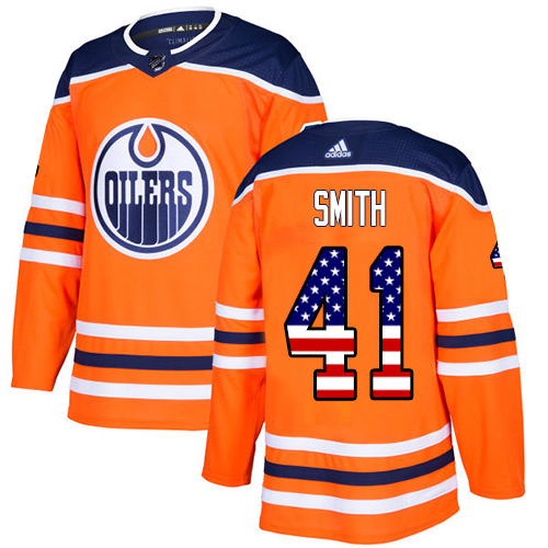 Adidas Oilers #41 Mike Smith Orange Home Authentic USA Flag Stitched NHL Jersey