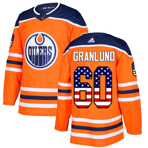 Adidas Oilers #60 Markus Granlund Orange Home Authentic USA Flag Stitched NHL Jersey