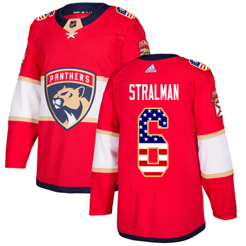 Adidas Panthers #6 Anton Stralman Red Home Authentic USA Flag Stitched NHL Jersey