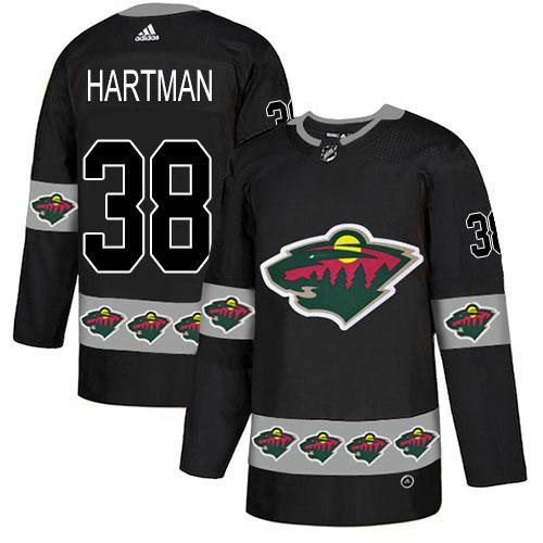 Adidas Wild #38 Ryan Hartman Black Authentic Team Logo Fashion Stitched NHL Jersey
