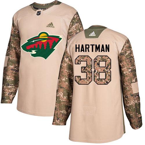 Adidas Wild #38 Ryan Hartman Camo Authentic 2017 Veterans Day Stitched NHL Jersey