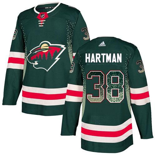 Adidas Wild #38 Ryan Hartman Green Home Authentic Drift Fashion Stitched NHL Jersey