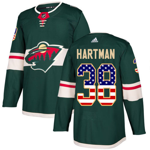 Adidas Wild #38 Ryan Hartman Green Home Authentic USA Flag Stitched NHL Jersey