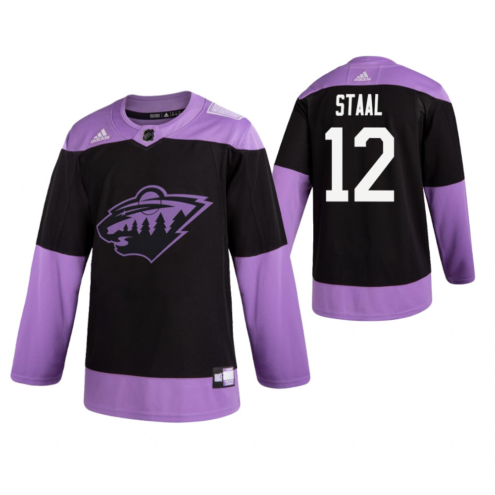 Adidas Wild #12 Eric Staal Men's Black Hockey Fights Cancer Practice NHL Jersey