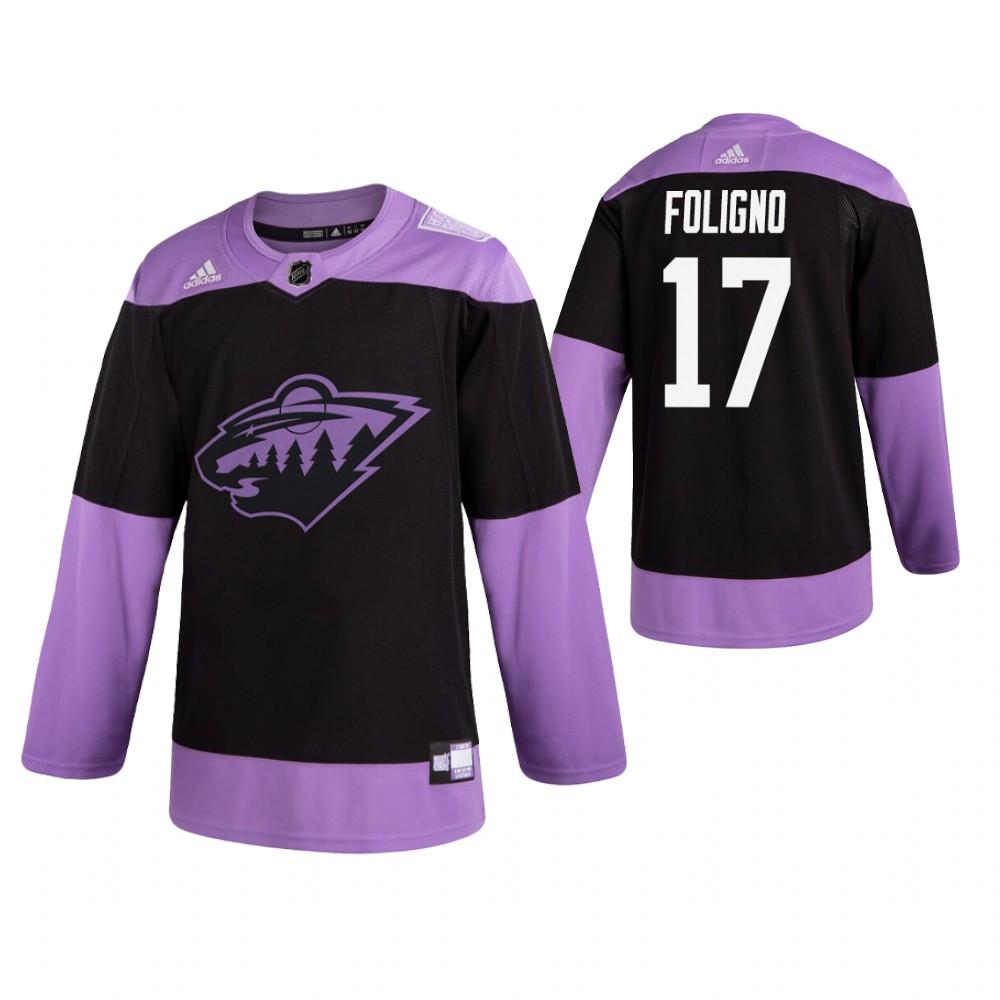 Adidas Wild #17 Marcus Foligno Men's Black Hockey Fights Cancer Practice NHL Jersey