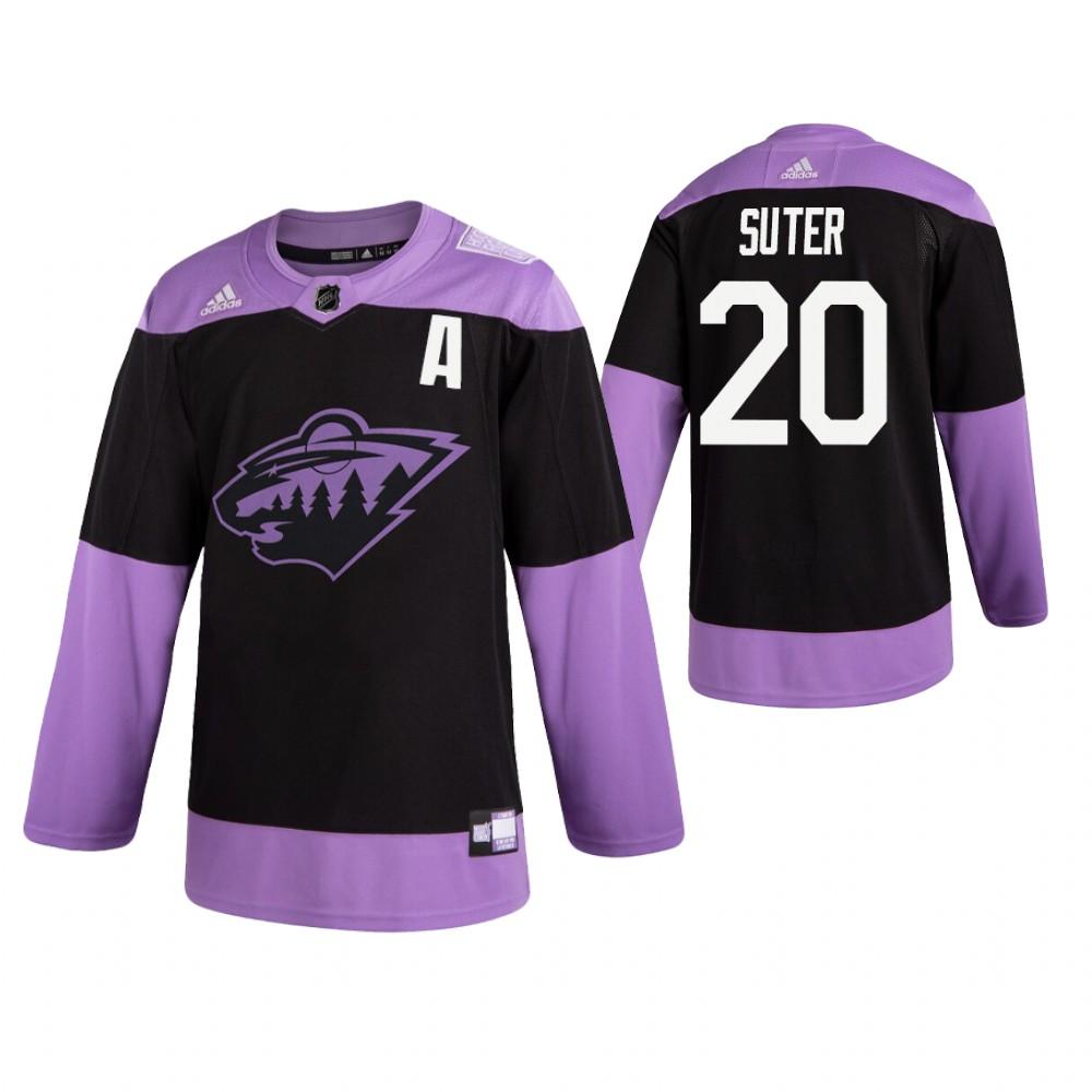 Adidas Wild #20 Ryan Suter Men's Black Hockey Fights Cancer Practice NHL Jersey