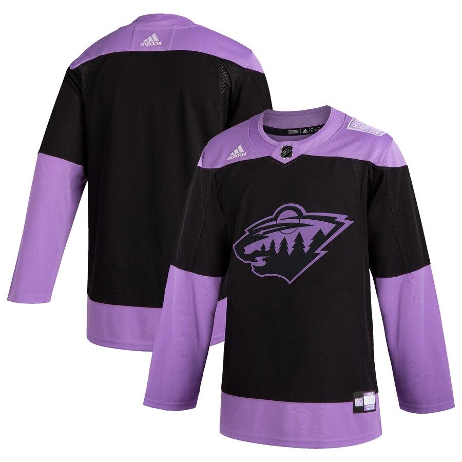 Minnesota Wild Adidas Hockey Fights Cancer Practice Jersey Black