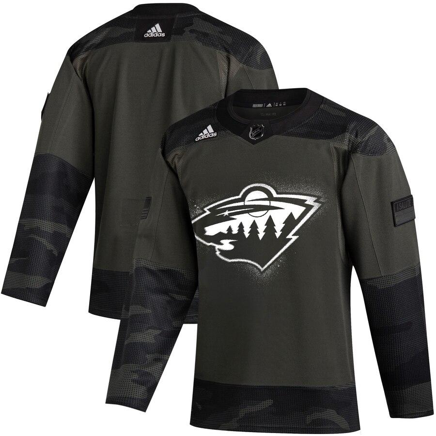 Minnesota Wild Adidas 2019 Veterans Day Authentic Practice NHL Jersey Camo