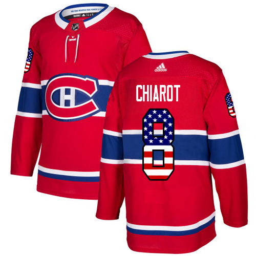 Adidas Canadiens #8 Ben Chiarot Red Home Authentic USA Flag Stitched NHL Jersey