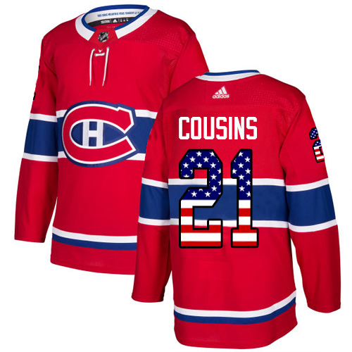Adidas Canadiens #21 Nick Cousins Red Home Authentic USA Flag Stitched NHL Jersey