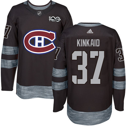 Adidas Canadiens #37 Keith Kinkaid Black 1917-2017 100th Anniversary Stitched NHL Jersey
