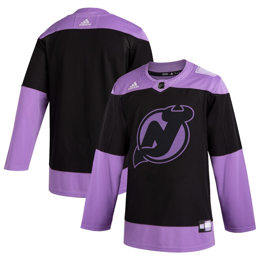 New Jersey Devils Adidas Hockey Fights Cancer Practice Jersey Black