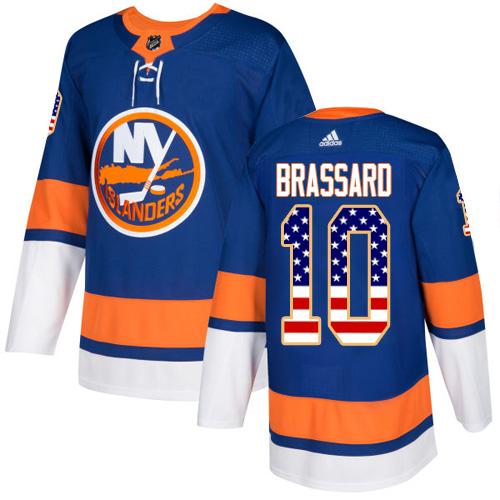 Adidas Islanders #10 Derek Brassard Royal Blue Home Authentic USA Flag Stitched NHL Jersey