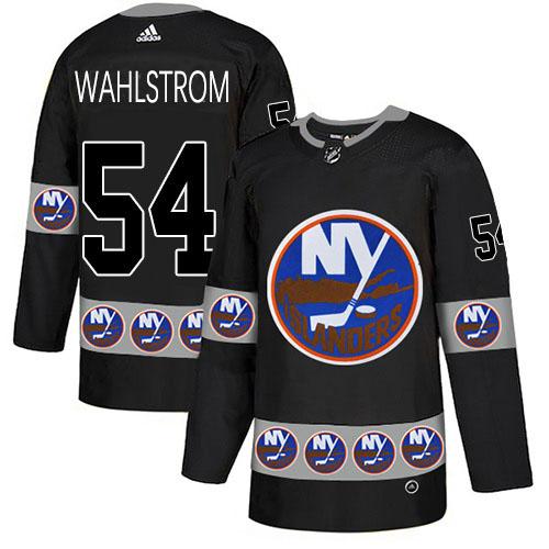 Adidas Islanders #54 Oliver Wahlstrom Black Authentic Team Logo Fashion Stitched NHL Jersey