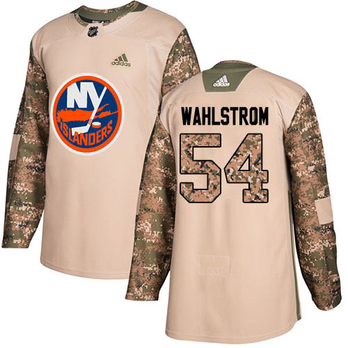 Adidas Islanders #54 Oliver Wahlstrom Camo Authentic 2017 Veterans Day Stitched NHL Jersey