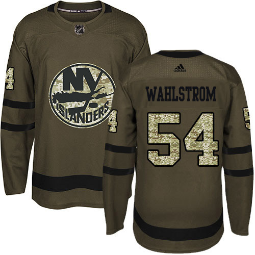 Adidas Islanders #54 Oliver Wahlstrom Green Salute to Service Stitched NHL Jersey