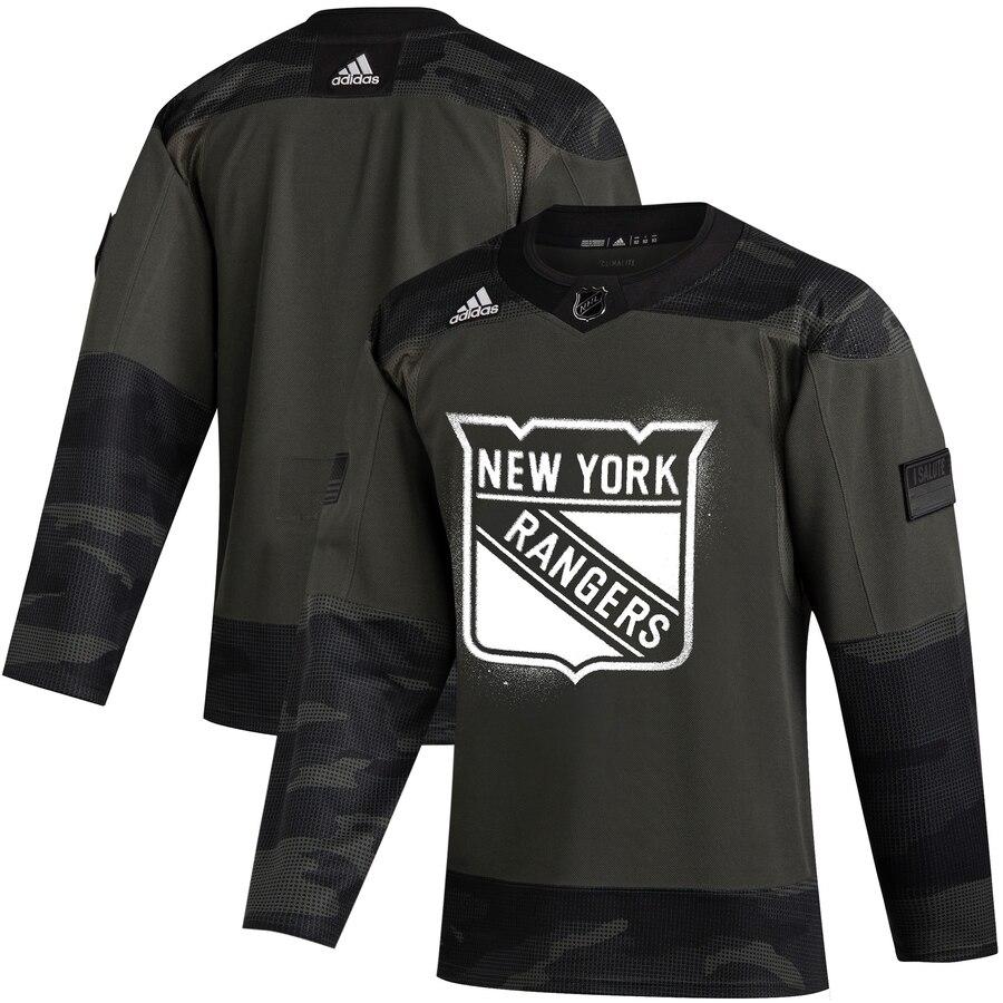 New York Rangers Adidas 2019 Veterans Day Authentic Practice NHL Jersey Camo
