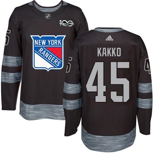 Adidas Rangers #45 Kappo Kakko Black 1917-2017 100th Anniversary Stitched NHL Jersey