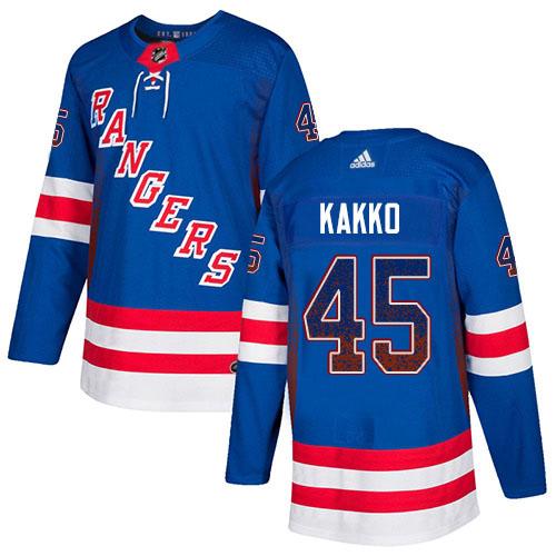 Adidas Rangers #45 Kappo Kakko Royal Blue Home Authentic Drift Fashion Stitched NHL Jersey