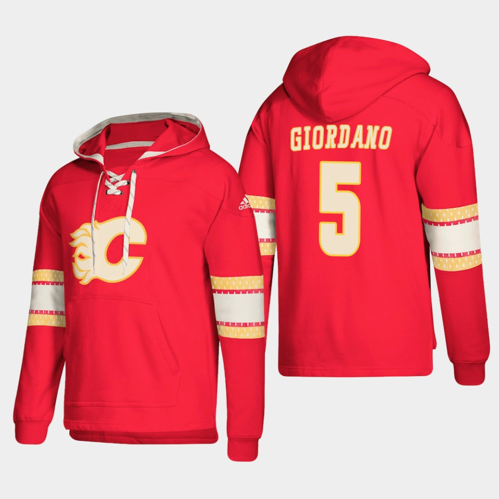 Calgary Flames #5 Mark Giordano Red adidas Lace-Up Pullover Hoodie