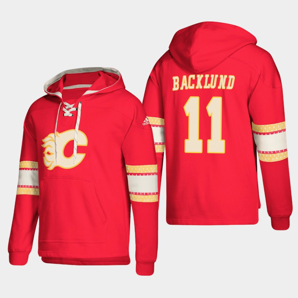 Calgary Flames #11 Mikael Backlund Red adidas Lace-Up Pullover Hoodie