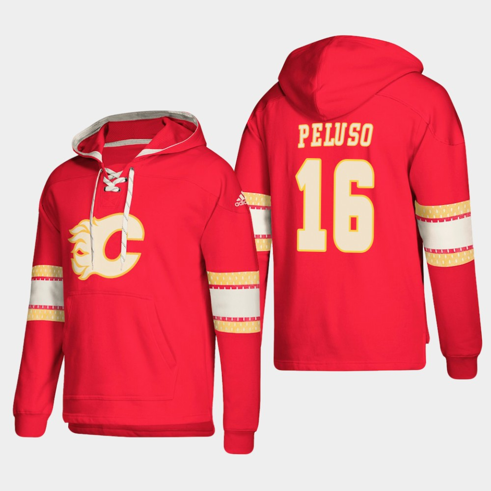 Calgary Flames #16 Anthony Peluso Red adidas Lace-Up Pullover Hoodie