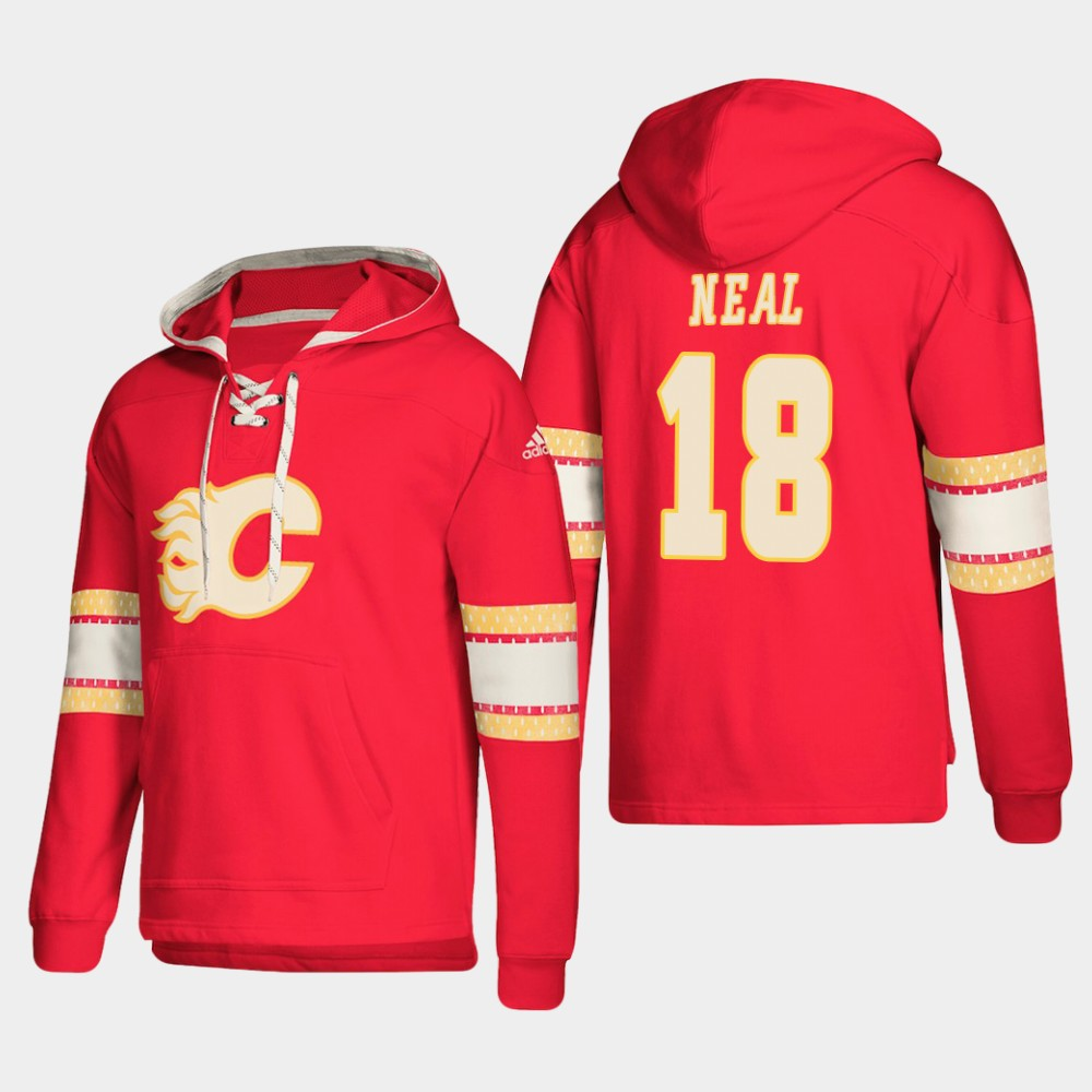 Calgary Flames #18 James Neal Red adidas Lace-Up Pullover Hoodie