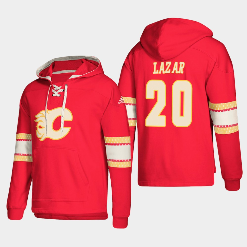 Calgary Flames #20 Curtis Lazar Red adidas Lace-Up Pullover Hoodie