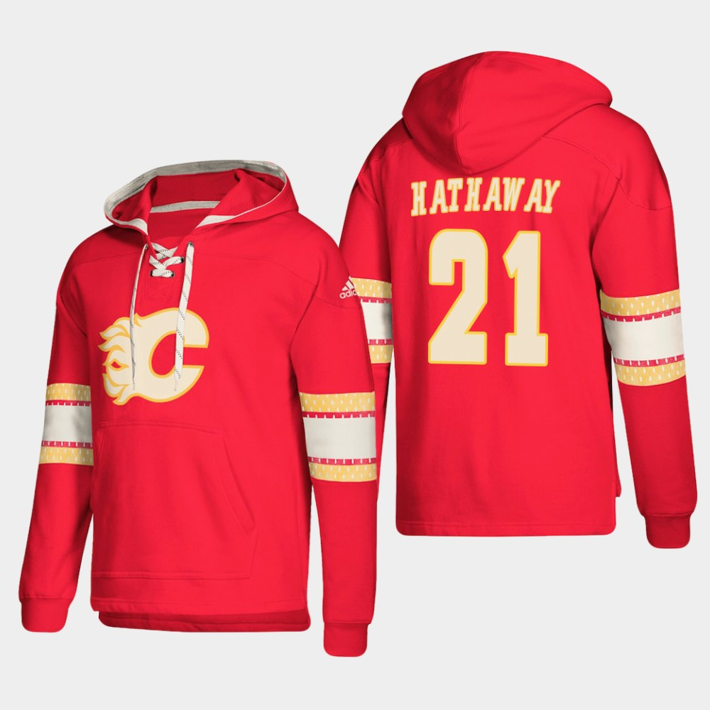 Calgary Flames #21 Garnet Hathaway Red adidas Lace-Up Pullover Hoodie