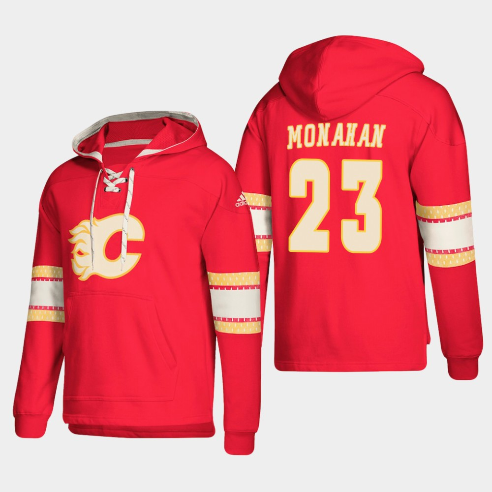 Calgary Flames #23 Sean Monahan Red adidas Lace-Up Pullover Hoodie