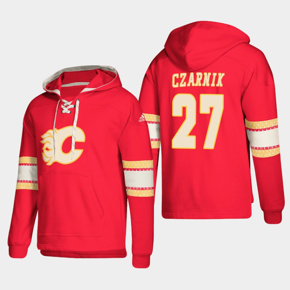 Calgary Flames #27 Austin Czarnik Red adidas Lace-Up Pullover Hoodie