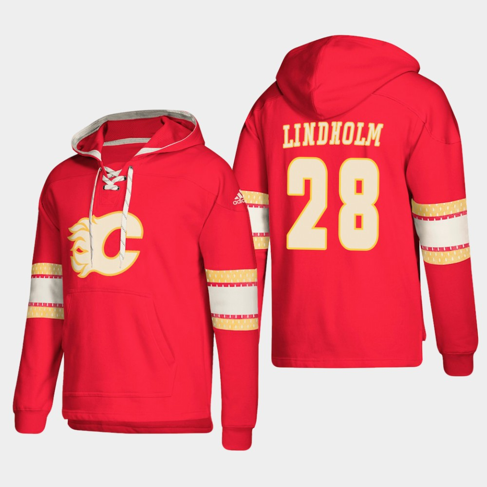 Calgary Flames #28 Elias Lindholm Red adidas Lace-Up Pullover Hoodie