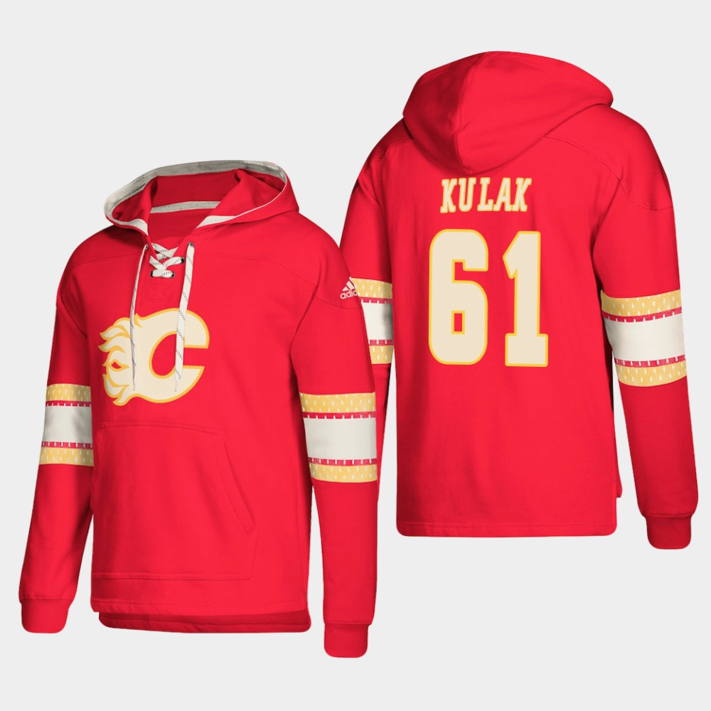 Calgary Flames #61 Brett Kulak Red adidas Lace-Up Pullover Hoodie