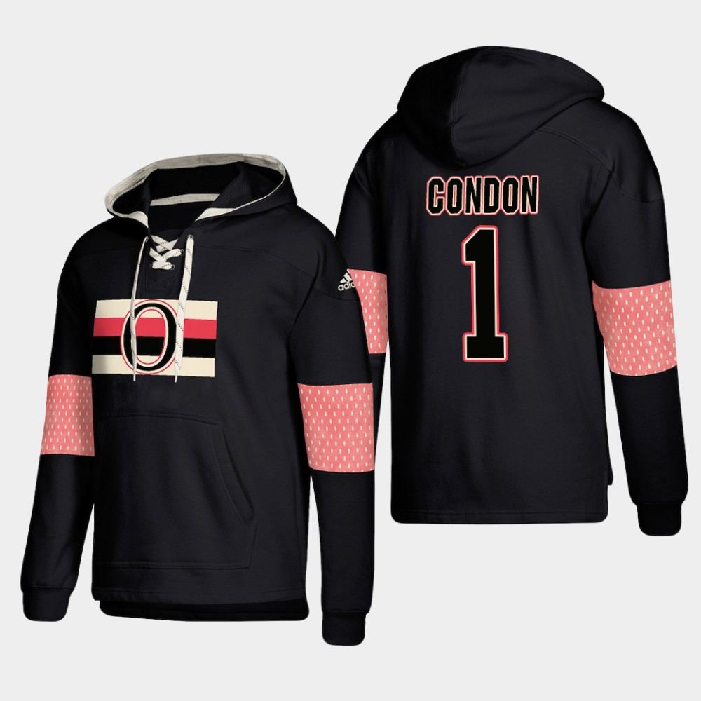 Ottawa Senators #1 Mike Condon Black adidas Lace-Up Pullover Hoodie