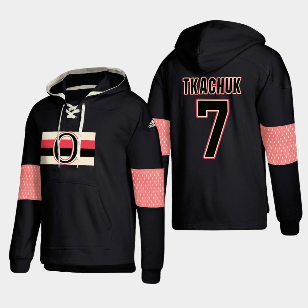 Ottawa Senators #7 Brady Tkachuk Black adidas Lace-Up Pullover Hoodie
