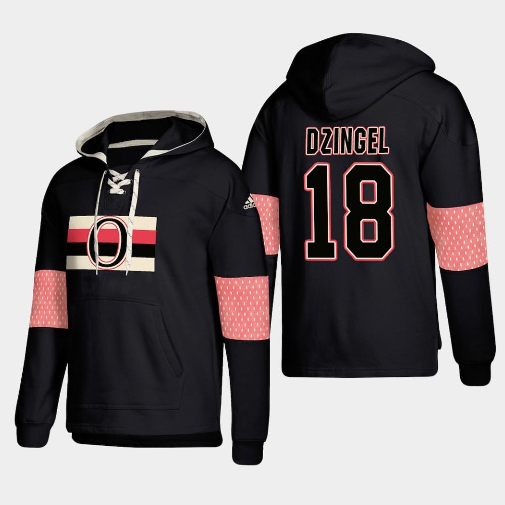 Ottawa Senators #18 Ryan Dzingel Black adidas Lace-Up Pullover Hoodie
