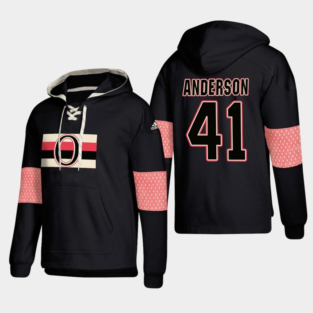 Ottawa Senators #41 Craig Anderson Black adidas Lace-Up Pullover Hoodie