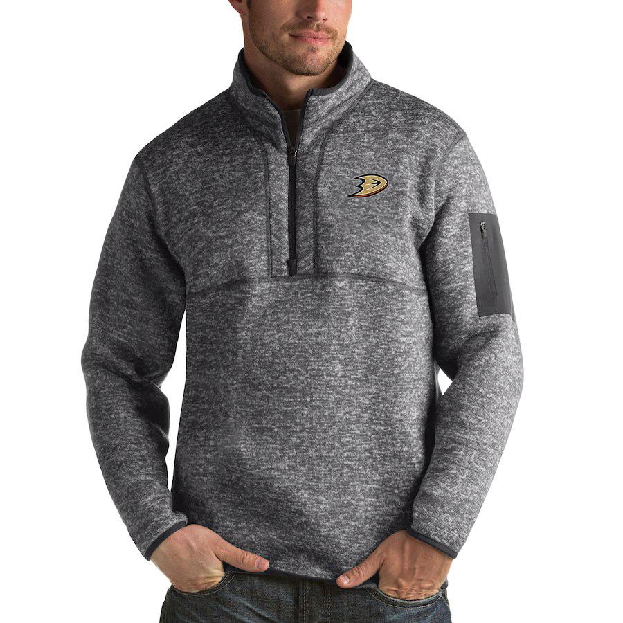 Anaheim Ducks Antigua Fortune Quarter-Zip Pullover Jacket Black